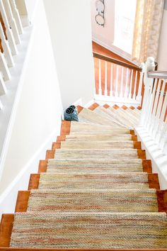 hardwood stairs with permanent runner rug installed Hallway Decorating, Decorating On A Budget, Entryway Decor, Entryway Ideas, Curved Staircase, Staircase Design, Staircase Runner, Staircase Ideas, Stairs Treads And Risers