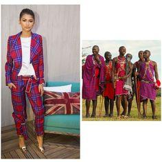 @Zendaya's pantsuit looks like it came straight from Kenya. It's giving me serious Maasai shuka vibes. It's so stylish!