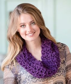 Uniquely You Plum Cowl Free Crochet Pattern in Red Heart Yarns