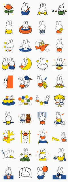 miffy Line Sticker - Rumors City Emoji Stickers, Cute Stickers, Emoji Creator, Toddler Calendar, Stick Figure Animation, Doodle Characters, Birthday Wallpaper, Doodle Art Journals, Miffy