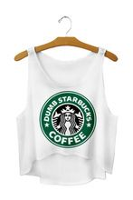 Starbuck Coffee 2015 Summer Ladies Sexy Navel Baring Cropped Short Sleeveless Tee Women's Crop Top(China (Mainland))