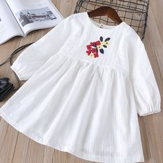 Find More Dresses Information about Hurave cotton embroidery infant Baby Girls C. Baby Girl Frocks, Frocks For Girls, Little Girl Dresses, Baby Dress Design, Baby Design, Fashion Kids, Kids Dress Wear, Kids Frocks Design, Baby Outfits Newborn