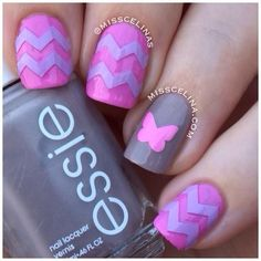 Chevrons and butterflies using nail vinyls/decals by misscelinas. Fancy Nails, Love Nails, Diy Nails, Fabulous Nails, Gorgeous Nails, Pretty Nails, Butterfly Nail Art, Butterfly Cutout, Pink Butterfly