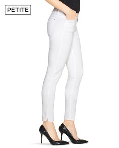 We used the softest cotton imaginable to create this skimmer style with flattering stretch. Featuring a classic rise and vented ankles, these white jeans will make any outfit a statement.   Skimmer jeans with classic rise.    Fits close to the body; hits between mid-calf and ankle.    98% cotton/2% spandex. Machine wash, cold.   Regular: Approx. 28 White Jeans, Capri Pants, How To Make, How To Wear, Spandex, Cold, Ankle, Create, Classic