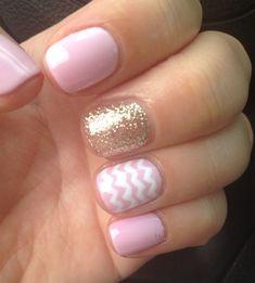Glitter Chevron Gel Nail Art Designs