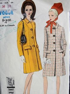1960s MOD COAT PATTERN STRAIGHT LINE, BIAS SHAPED COLLAR, VOGUE SPECIAL DESIGN  7003