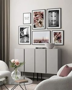 Flower In Paris gallery wall Living Room Color Schemes, Online Wall Art, Art Gallery Wall, Gallery Wall, Black And White Decor, White Interior, White Interior Design, Inspiration Wall, Monochrome Interior