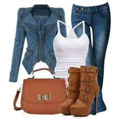 Classic casual denim jacket and brown buckle booties and bag outfit