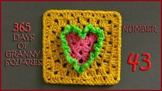 365 Days of Granny Squares Number 43 Crochet Squares Afghan, Granny Square Blanket, Granny Square Crochet Pattern, Crochet Blocks, Crochet Blanket Patterns, Crochet Granny, Crochet Motif, Granny Squares, Crochet Hearts