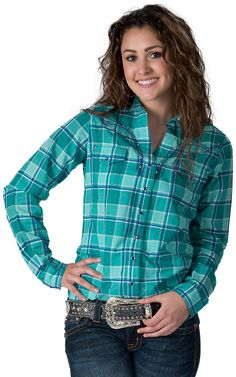 Rock 47 by Wrangler Women's Teal & Blue Plaid Long Sleeve Western Shirt Cowgirl Outfits, Western Outfits, Western Wear, Cowgirl Fashion, Cowgirl Shirts, Western Shirts, Cowgirl Clothing, Country Wear, Country Outfits