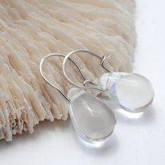 Clear coloured glass teardrop sterling silver by gdunnjewellery