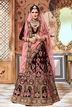 Fantabulous Velvet Designer Brown Color Lehenga For Bridal Wear Indian Bridal Outfits, Indian Dresses, Bridal Dresses, Indian Wedding Lehenga, Bridal Lehenga Choli, Lehenga Collection, Dress Collection, Abaya Fashion, Indian Fashion