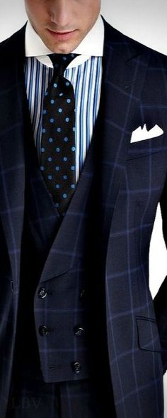 Windowpane Suit, Striped Shirt, Polka Dots Necktie. Sophisticated Style .