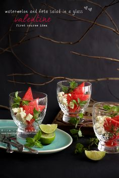 Watermelon and feta salad in a glass
