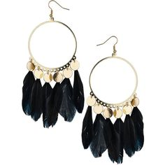 Feather disc earring ($12) ❤ liked on Polyvore