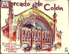 de vuelta con el cuaderno: Cuaderno Muaré (13. Valencia en un Bloc Penat) Mercado de Colón
