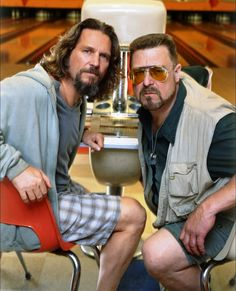 """""""The Big Lebowski"""" promo still, 1998.  L to R: Jeff Bridges, John Goodman.  In 2002, the """"Lebowski Fest"""" began in Louisville, KY (all-night bowling, costume and trivia contests), expanded to several other cities, and several events have attracted cast members of the movie - John Turturro once showed up as Jesus Quintana!  The film even has its own religion: Dudeism.com!"""