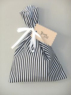 Striped fabric party favour bag  Black and white by LittlePaxtons