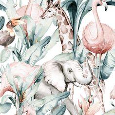 Elephant and Safari Animals Baby Blanket, Jungle Baby Shower Gift Personalized Blanket, Giraffe Nursery Bedding, Safari Crib Blanket Unisex Jungle Theme Nursery, Giraffe Nursery, Nursery Bedding, Girl Nursery, Baby Bedding, Nursery Themes, Nursery Decor, Safari Animals, Baby Animals