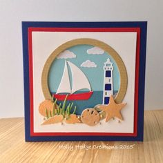 Nautical style card using mainly Impression Obsession dies.