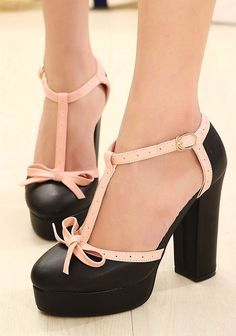 Bow Sandals Women With Thick Heels Hit Color