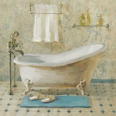 Bring a vintage feel into your bath décor with the Global Gallery Victorian Bath III Giclee Canvas Wall Art . Artist-grade canvas is gallery-wrapped. Canvas Artwork, Canvas Wall Art, Canvas Prints, Art Prints, Canvas Paintings, Bath Art, Bathroom Art, Bathroom Prints, Bathrooms