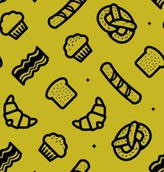 Free Breakfast Pattern #photoshoppatterns #seamlesspattern #vectorpatterns