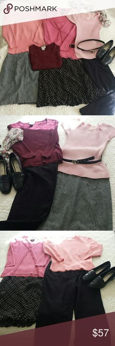 """8 piece  capsule mix and match clothing set Includes classics that always work: 2 crew neck sweaters,  1 sweater set, 1 sleeveless sweater, 1 polka dot skirt, 1 fitted herring bone skirt and 1 pair of dress pants. Plus free belt. All tops match all bottoms for multiple combinations of outfits.  I am 107 pounds/5""""4'. If you're near that size and like black/ pink and need work clothes or could use an inexpensive way to revive/ expand or simplify your wardrobe ...this is a great option.  All…"""