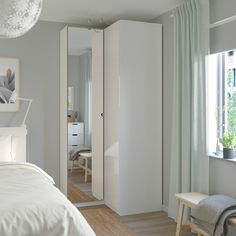 PAX Corner wardrobe, white, Fardal Vikedal, 43 A wardrobe fit for the one that loves folding! Pax Wardrobe, Room, Interior, Home, Ikea Wardrobe, Tiny Bedroom, Ikea Pax Corner Wardrobe, Bedroom Design, Ikea