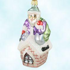 House Sitting Santa, Christopher Radko Christmas Ornaments, 1996, 94-240-2, purple jacket, pearl house, glitter snow, Mint