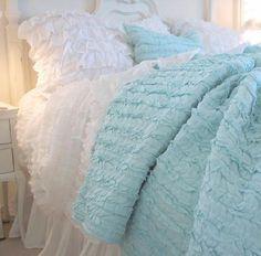 Shabby Romantic Cottage Rag Ruffles Quilt