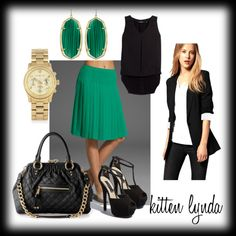 """Green Pleated Skirt"" by dadada20 on Polyvore"