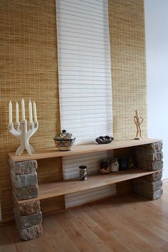 Really easy diy shelves! Goes with the Zen mood, as can be seen in the wall