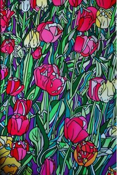 """stunning Acrylic Block Print of Keith Schmeidlin's original acrylic on canvas painting """"Tulip Garden"""" is his newest addition to the POWER Collection. Ready to hang with a slim profile, this very limited edition print is perfect to brighten up any space! 25% of the proceeds benefits women in recovery!"""