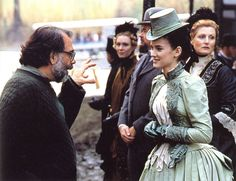 """Francis Ford Coppola and Winona Ryder share a moment on the set of """"Bram Stoker's Dracula"""", 1992. Movie Costumes, Cool Costumes, Costume Ideas, Period Costumes, Mina Harker, Dracula Costume, The Godfather Part Ii, Winona Forever, Hollywood Costume"""
