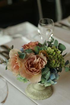 初夏の紅茶とブルーの装花 アンカシェット様へ : 一会 ウエディングの花