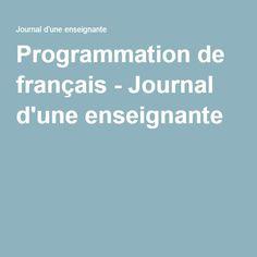 Programmation de français - Journal d'une enseignante