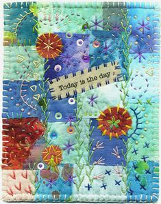 Beautiful Crazy Quilt Art - an example of patchwork and embroidery with words. Check site for other lovely samples - especially the rope/hope one. Crazy Quilt Stitches, Crazy Quilt Blocks, Crazy Quilting, Small Quilts, Mini Quilts, Quilting Projects, Sewing Projects, Quilting Ideas, Fabric Postcards