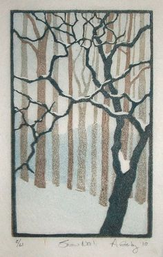"""3.5"""" x 5.5"""" linocut reduction edition of 21 on a variety of paper Akua Kolor ink Just felt like doing something graphic for a change, after spending all the time carving that detailed tree."""