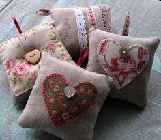 Pincushion Natural Linen Fabric Cotton Lace by lamaisondefloria