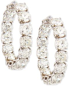 Roberto Coin 18K White Gold Perfect Diamond Hoop Earrings.14.0 total diamond carat weight. For pierced ears. $105,000 Whilst Available.