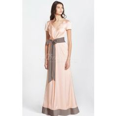 A-line V-neck,With Sleeves Stretch Satin Floor-length Pink Bridesmaid Dresses(BD083)