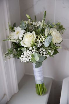 wedding flowers White and cream bridal bouquet, with roses, gypsophila, eucalyptus, thistles and veronica. Photography by Helen England Photography. Summer Wedding Bouquets, White Wedding Flowers, Bride Bouquets, Floral Wedding, Flower Bouquets, Purple Bouquets, Wedding White, Purple Wedding, Diy Wedding