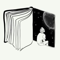 Reading is Dreaming with Your Eyes Open by Henn Kim Vector line art drawing / il. Sad Drawings, Cool Art Drawings, Pencil Art Drawings, Art Drawings Sketches, Art And Illustration, Stylo Art, Anime Kunst, Pen Art, Art Sketchbook
