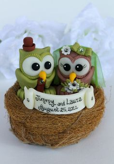 Owl love bird wedding cake topper with nest and by PerlillaPets