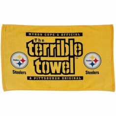What's the best way to show you're a Pittsburgh Steelers fan? By waiving your new terrible towel around on Sundays. Offered to only the best fans out there! Steelers Gifts, Steelers Football, Steelers Terrible Towel, Pittsburgh Steelers Helmet, Easy Halloween Costumes Kids, Steeler Nation, Best Fan, New Orleans Saints, Funny Stuff