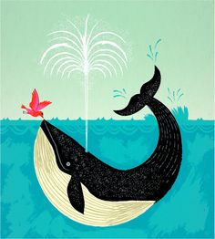 the bird and the whale by iota illustration on etsy