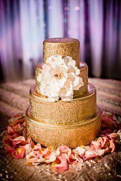 Gold gilded round 4 tier Indian wedding cake #indianwedding