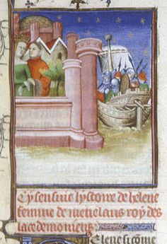 Helen and Paris in a castle garden, a ship moored below. From Boccaccio, Des cleres et nobles femmes, De claris mulieribus in an anonymous French translation c. 1400-25, French (Paris). British Library MS Royal 20 C V  f. 54