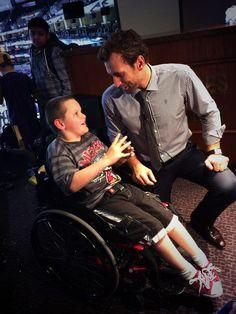 #LAKings' Jarret Stoll meeting the Koru Care kids at Staples. #OhStrollsy